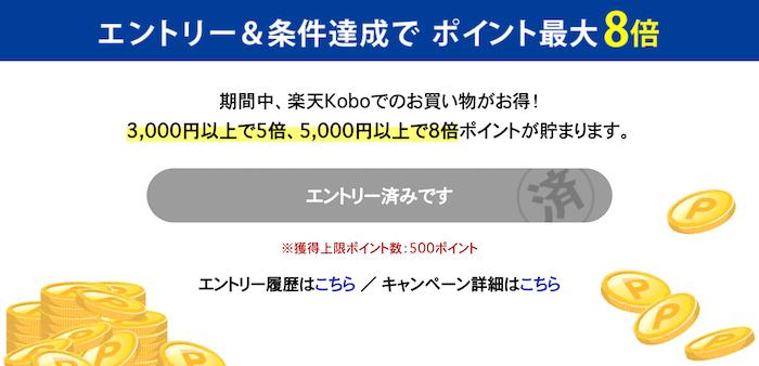 楽天kobo お買い物マラソン ポイントアップ