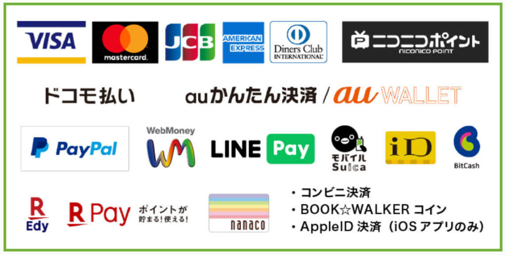 BOOK☆WALKER 支払い方法